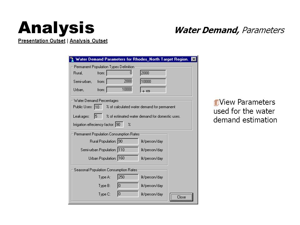 Analysis Water Demand, Parameters Presentation Outset | Analysis Outset Presentation OutsetAnalysis Outset 4 View Parameters used for the water demand