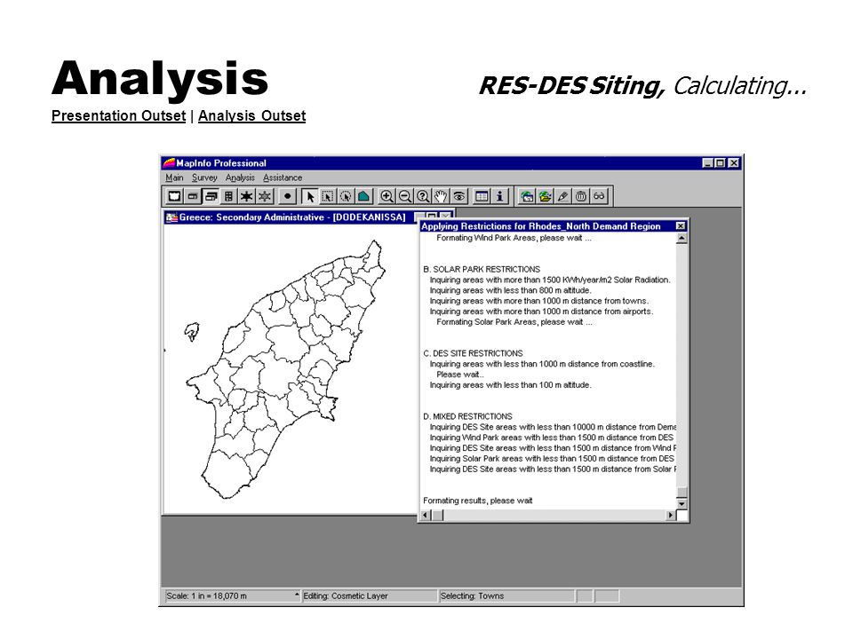 Analysis RES-DES Siting, Calculating... Presentation Outset | Analysis Outset Presentation OutsetAnalysis Outset