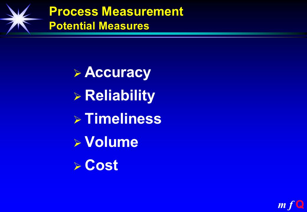 m f Q Process implementation PitfallPotential Lack of metrics or wrong metrics Focus on what matters to the business and the customer Inadequate maintenanceRegular reviews to maintain control Failure to build in accountability and competence Implement fully rounded processes