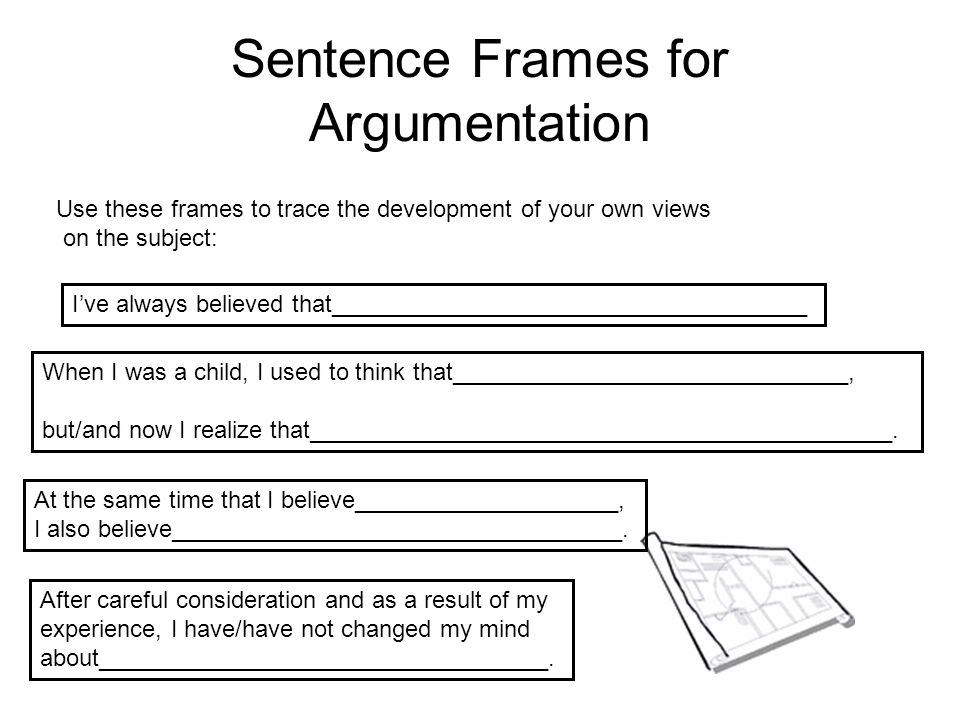 Sentence Frames for Argumentation Use these frames to trace the development of your own views on the subject: I've always believed that_______________