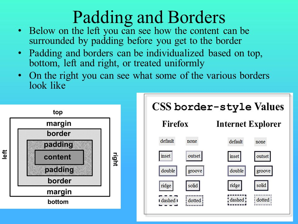 More Details Border colors can be any legal color Border style can be any of double, groove, inset, none (default), outset, ridge, solid, dashed, dotted or hidden – some of these make the border look 3-dimensional such as inset and outset, others establish texture like ridge, groove and solid Border width is specified either using a pixel number (e.g., 2px) or as thin, medium, thick When specifying a border, you can either include the attribute names (e.g., border-color: red;) or you can omit them and just place the three values in your css definition – the three values being color, width, style without ; separators Padding is specified either by px or em – you can specify a single padding number which effects all four sides, or two numbers, the first used for top/bottom and the second for left/right, or four numbers to specify the padding-bottom, padding- left, padding-top, padding-right in that order – note: you cannot use the border shortcut of just specifying the 3 values if there is a padding specifier included