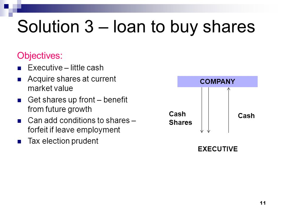 Solution 3 – loan to buy shares Objectives: Executive – little cash Acquire shares at current market value Get shares up front – benefit from future growth Can add conditions to shares – forfeit if leave employment Tax election prudent COMPANY EXECUTIVE Cash Shares Cash 11
