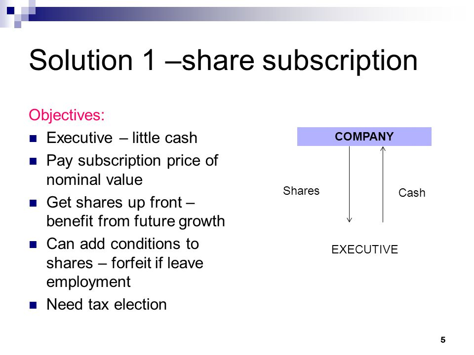 Solution 1 –share subscription Objectives: Executive – little cash Pay subscription price of nominal value Get shares up front – benefit from future growth Can add conditions to shares – forfeit if leave employment Need tax election COMPANY EXECUTIVE Cash Shares 5