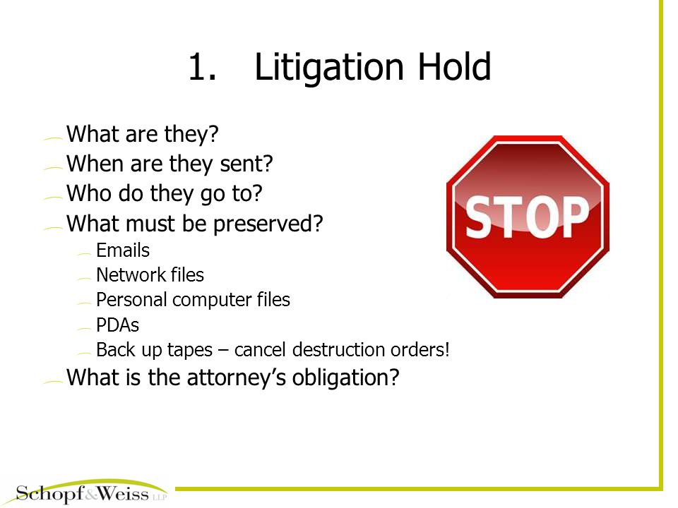1.Litigation Hold What are they. When are they sent.