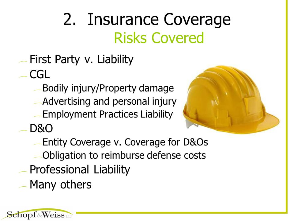 2.Insurance Coverage Risks Covered First Party v.