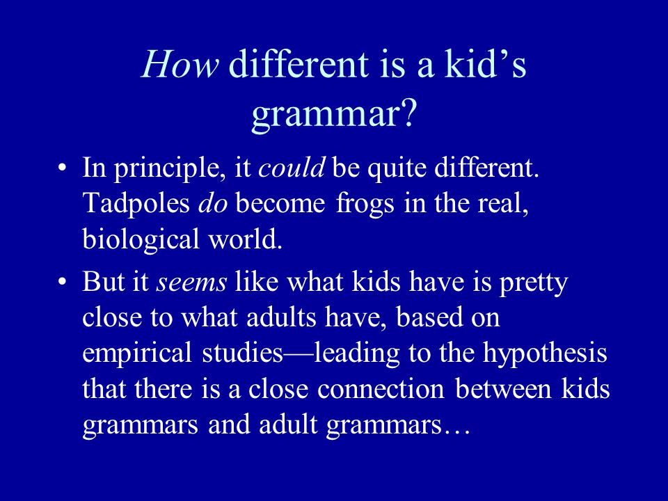 How different is a kid's grammar. In principle, it could be quite different.