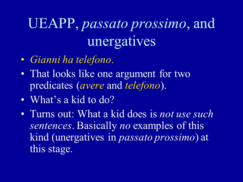 UEAPP, passato prossimo, and unergatives Gianni ha telefono.
