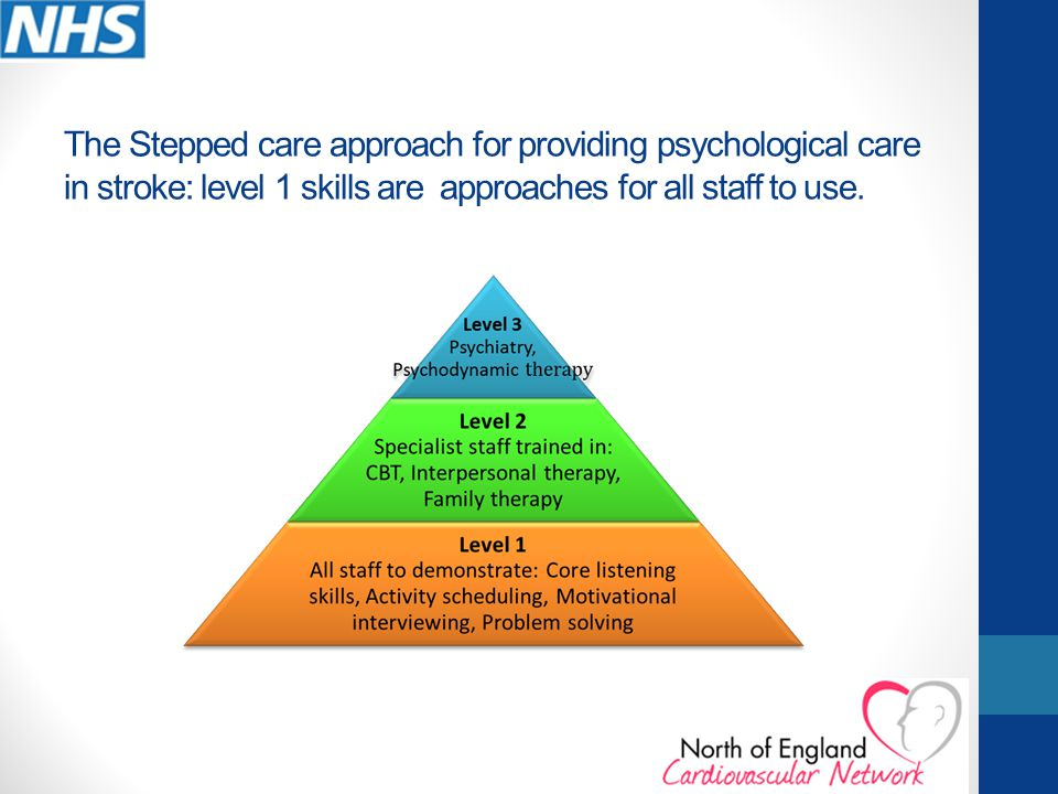 The Stepped care approach for providing psychological care in stroke: level 1 skills are approaches for all staff to use.