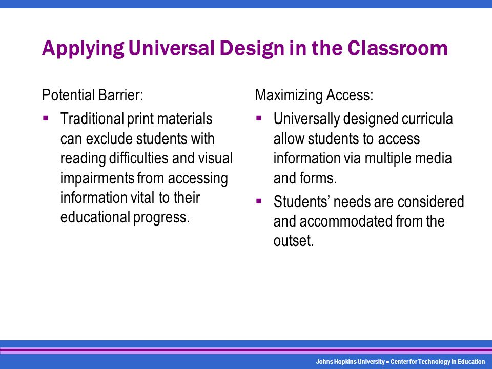 Johns Hopkins University Center for Technology in Education Applying Universal Design in the Classroom Potential Barrier:  Traditional print material