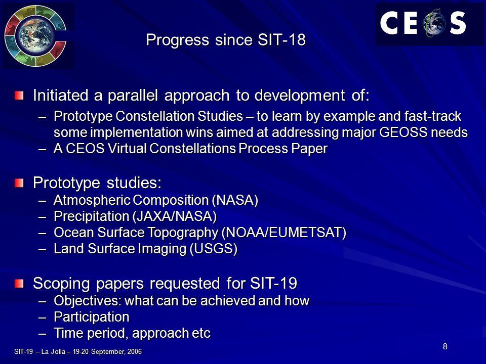 8 SIT-19 – La Jolla – 19-20 September, 2006 Progress since SIT-18 Initiated a parallel approach to development of: –Prototype Constellation Studies –