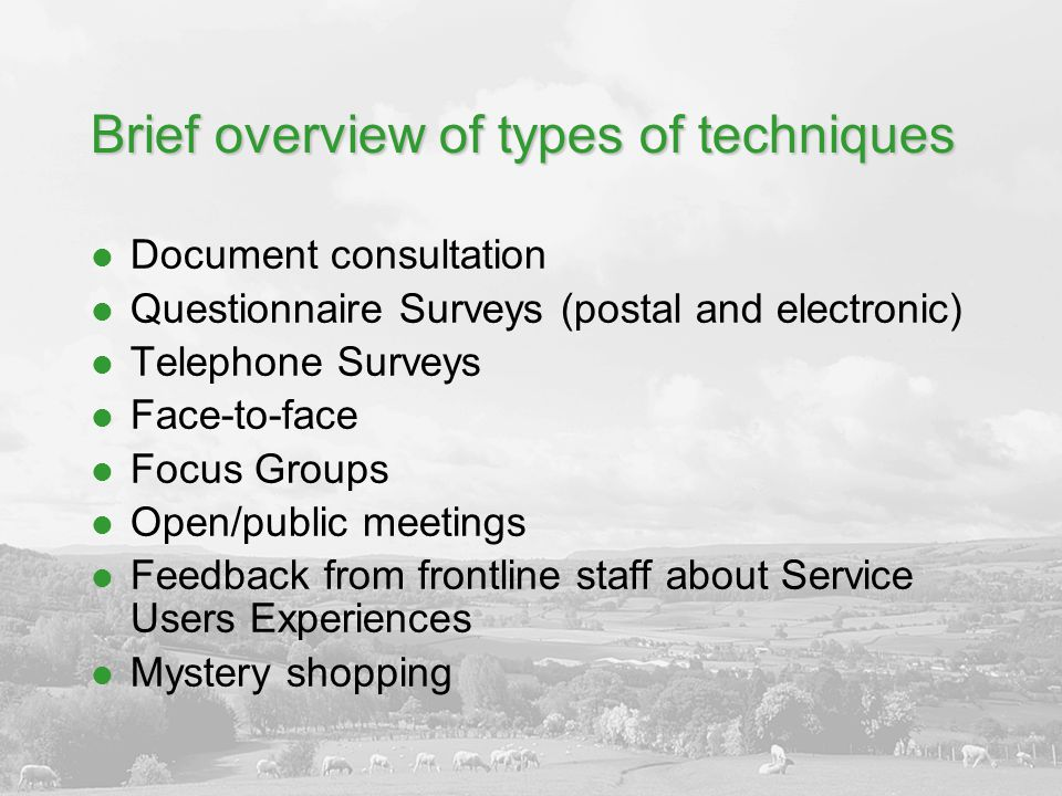 Brief overview of types of techniques Document consultation Questionnaire Surveys (postal and electronic) Telephone Surveys Face-to-face Focus Groups