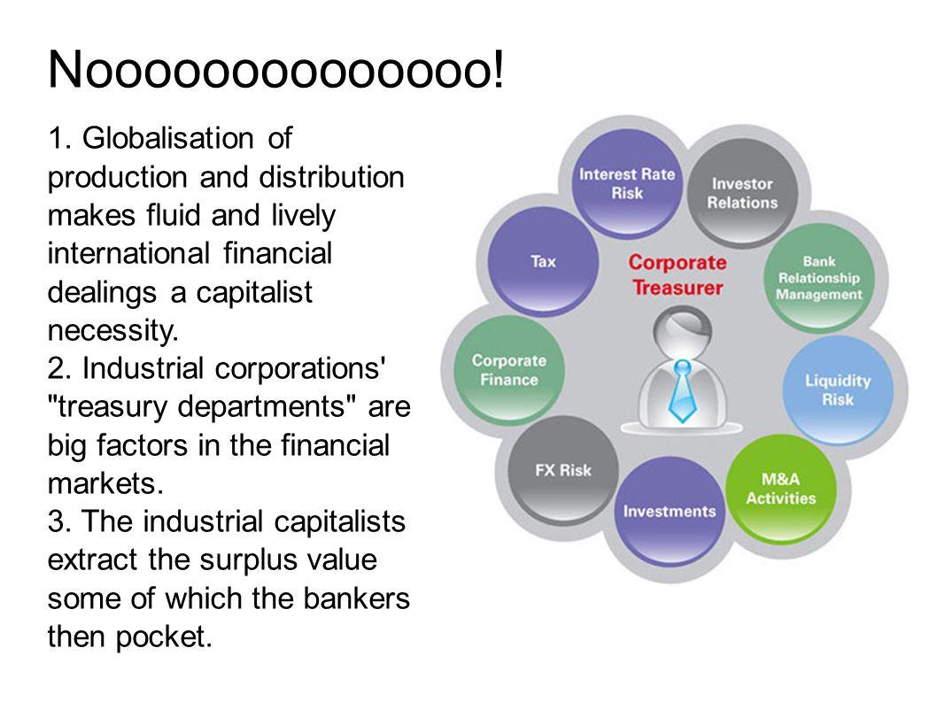 Noooooooooooooo! 1. Globalisation of production and distribution makes fluid and lively international financial dealings a capitalist necessity. 2. In