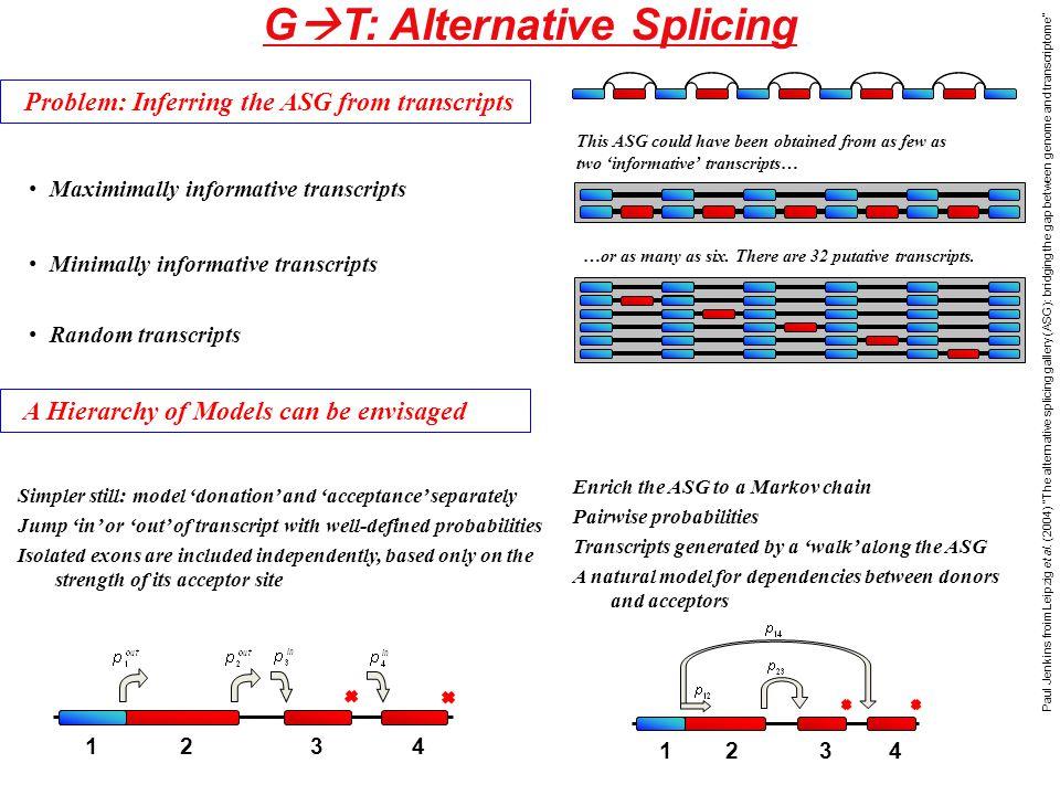 G  T: Alternative Splicing Paul Jenkins froim Leipzig et al.