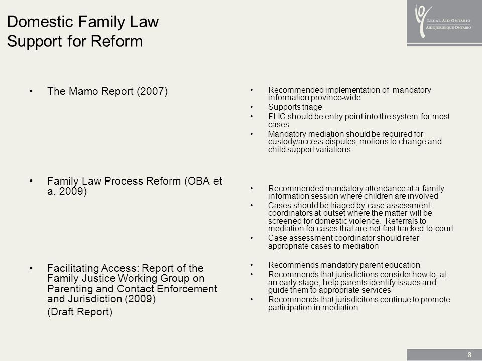 8 Domestic Family Law Support for Reform The Mamo Report (2007) Family Law Process Reform (OBA et a.