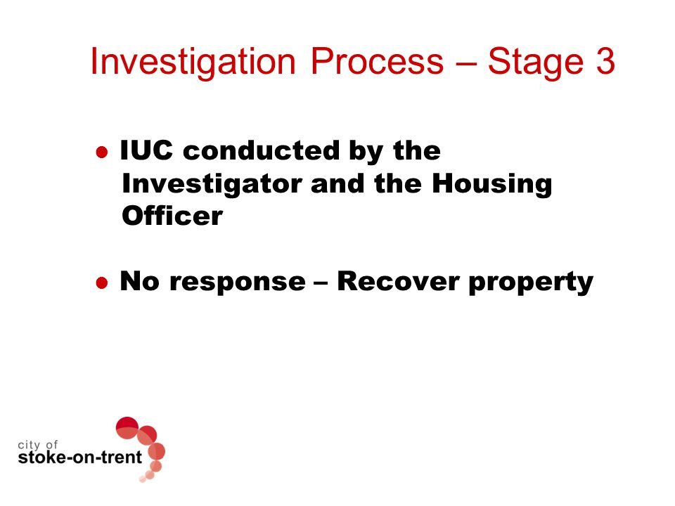 Investigation Process – Stage 3 IUC conducted by the Investigator and the Housing Officer No response – Recover property