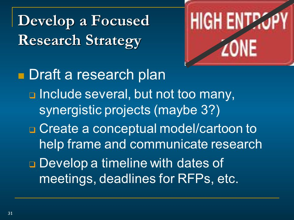 Develop a Focused Research Strategy Draft a research plan  Include several, but not too many, synergistic projects (maybe 3 )  Create a conceptual model/cartoon to help frame and communicate research  Develop a timeline with dates of meetings, deadlines for RFPs, etc.
