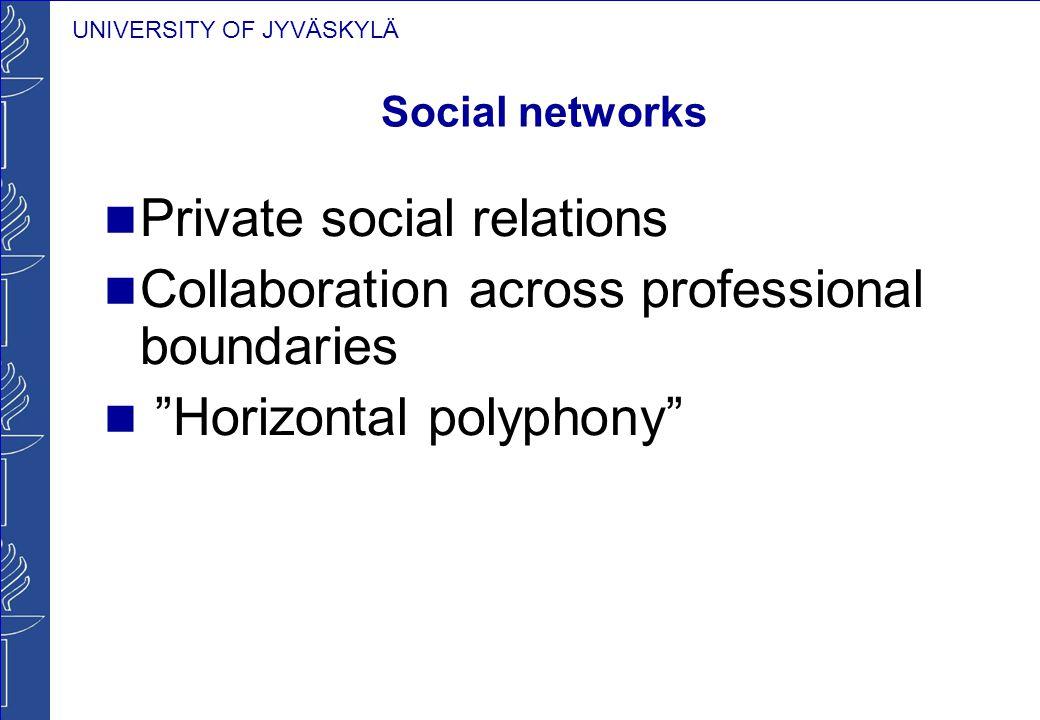 "UNIVERSITY OF JYVÄSKYLÄ Social networks Private social relations Collaboration across professional boundaries ""Horizontal polyphony"""