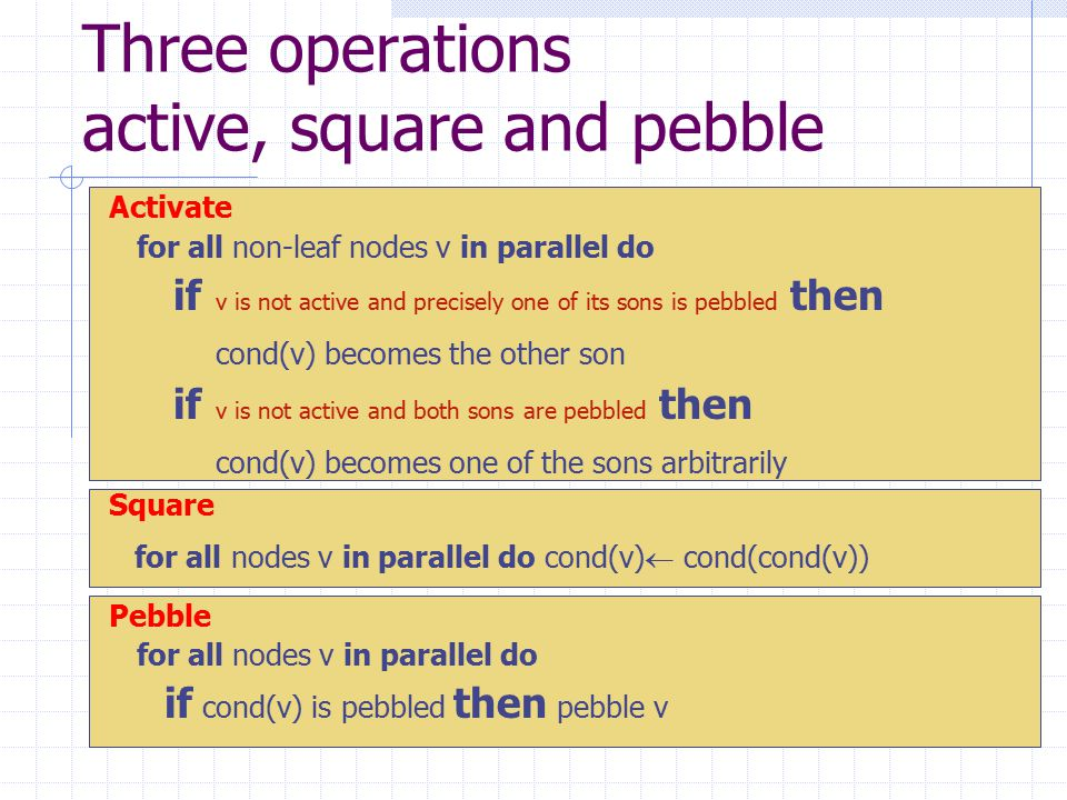 Three operations active, square and pebble Activate for all non-leaf nodes v in parallel do if v is not active and precisely one of its sons is pebbled then cond(v) becomes the other son if v is not active and both sons are pebbled then cond(v) becomes one of the sons arbitrarily Square for all nodes v in parallel do cond(v)  cond(cond(v)) Pebble for all nodes v in parallel do if cond(v) is pebbled then pebble v