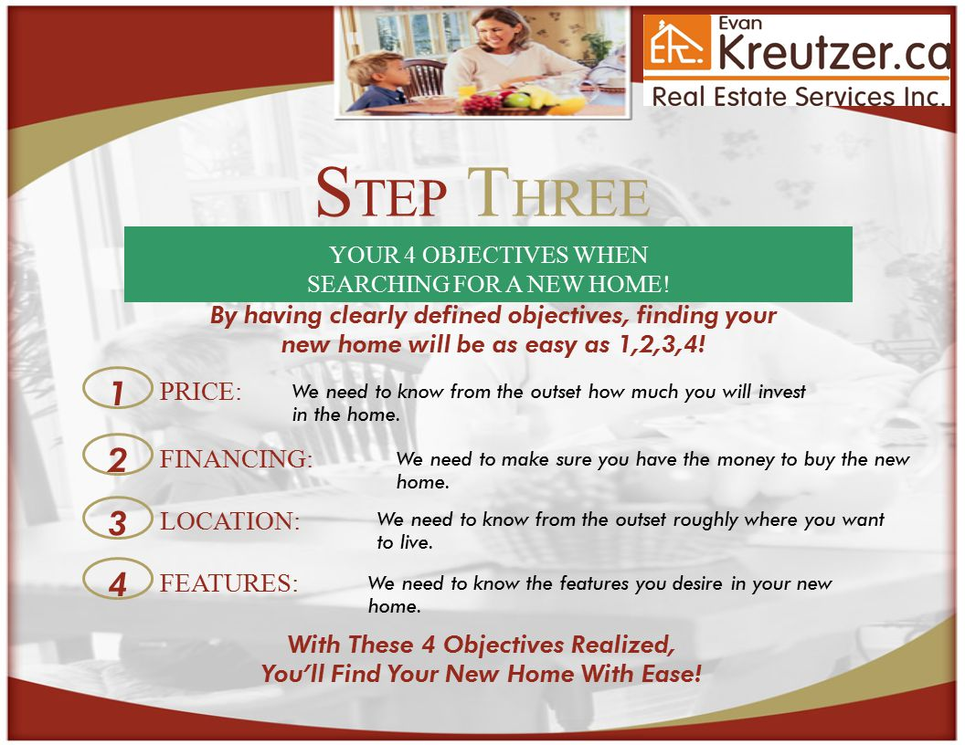 S TEP T HREE YOUR 4 OBJECTIVES WHEN SEARCHING FOR A NEW HOME.