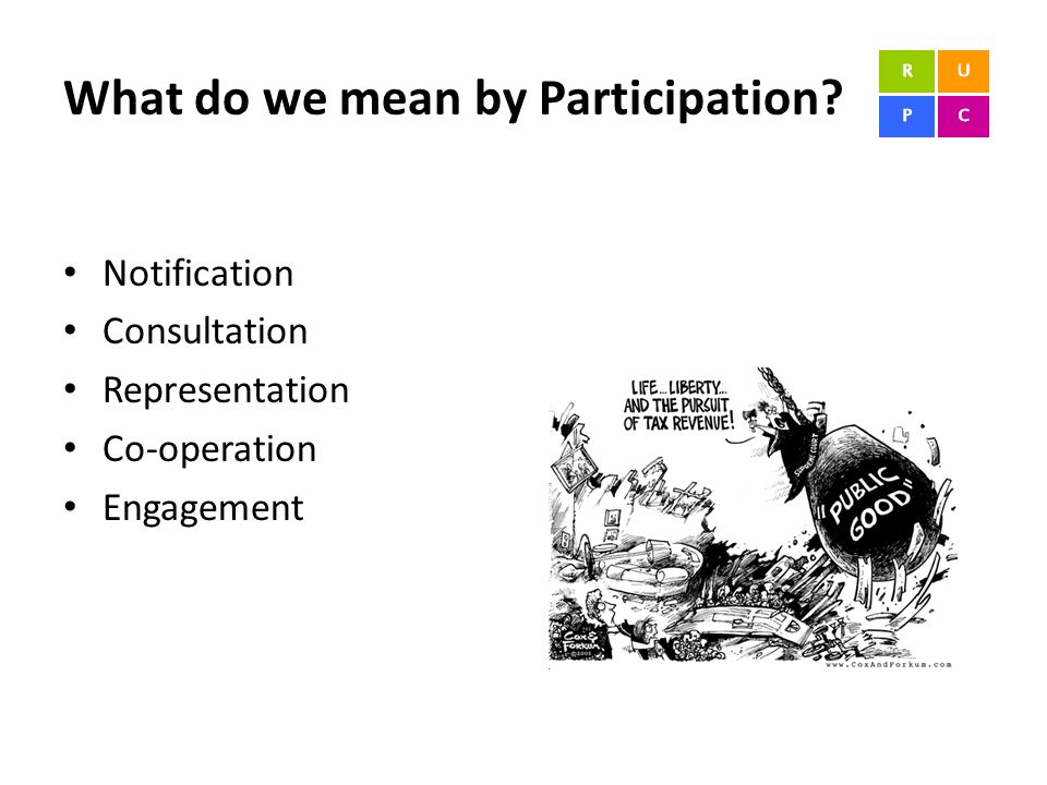 What do we mean by Participation? Notification Consultation Representation Co-operation Engagement