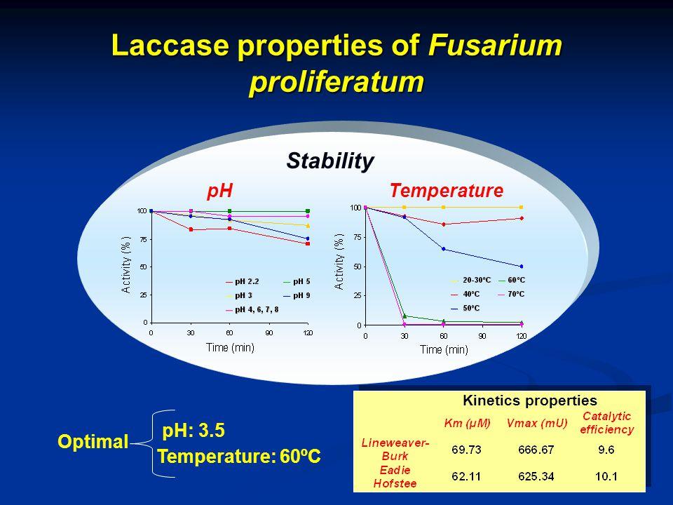 Laccase properties of Fusarium proliferatum Stability pHTemperature Optimal Temperature: 60ºC pH: 3.5 Kinetics properties