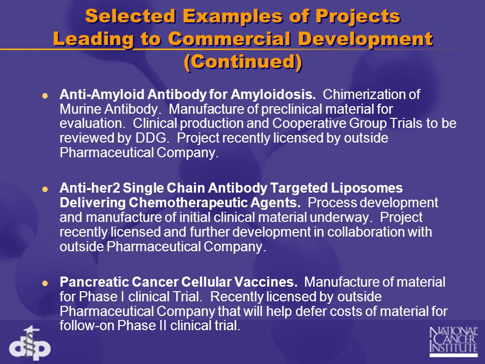 Selected Examples of Projects Leading to Commercial Development (Continued) Anti-Amyloid Antibody for Amyloidosis. Chimerization of Murine Antibody. M