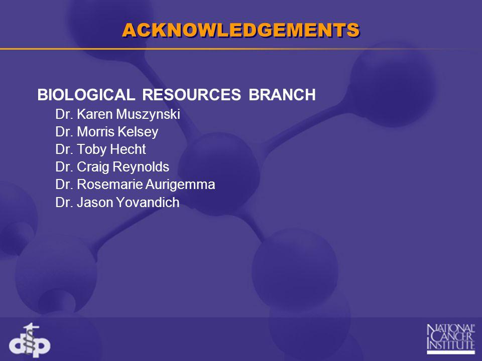 ACKNOWLEDGEMENTS BIOLOGICAL RESOURCES BRANCH Dr. Karen Muszynski Dr. Morris Kelsey Dr. Toby Hecht Dr. Craig Reynolds Dr. Rosemarie Aurigemma Dr. Jason