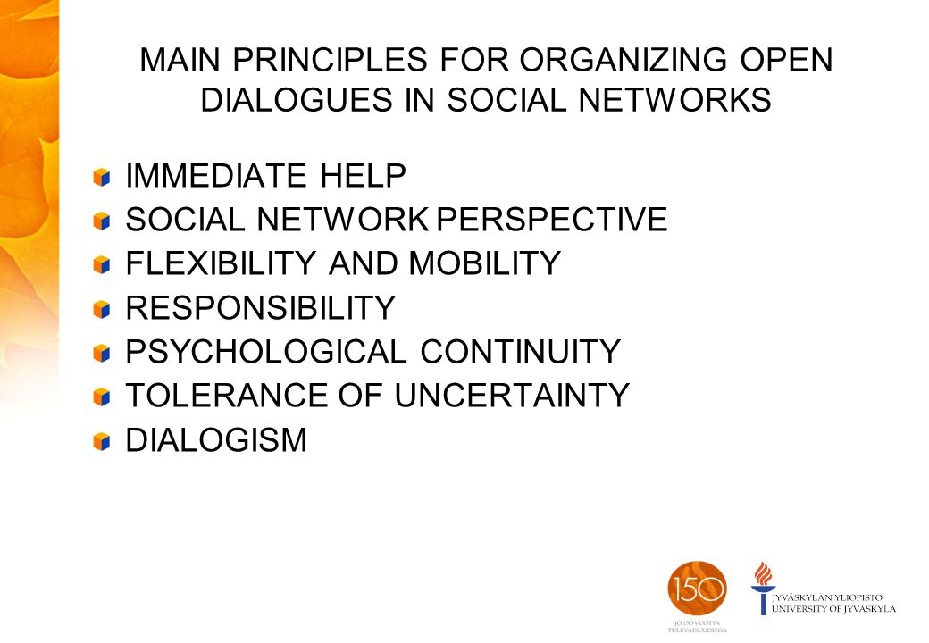MAIN PRINCIPLES FOR ORGANIZING OPEN DIALOGUES IN SOCIAL NETWORKS IMMEDIATE HELP SOCIAL NETWORK PERSPECTIVE FLEXIBILITY AND MOBILITY RESPONSIBILITY PSYCHOLOGICAL CONTINUITY TOLERANCE OF UNCERTAINTY DIALOGISM