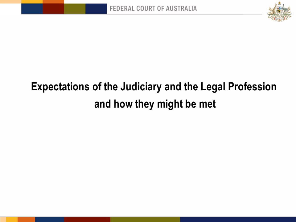 Expectations of the Judiciary and the Legal Profession and how they might be met