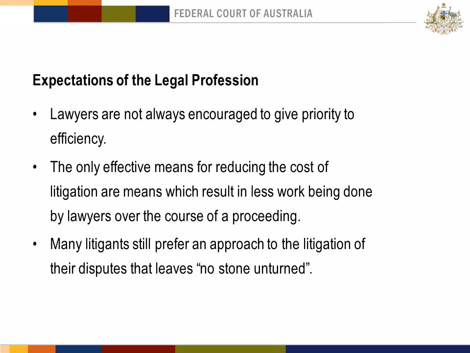 Expectations of the Legal Profession Lawyers are not always encouraged to give priority to efficiency. The only effective means for reducing the cost