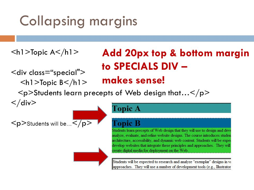 Collapsing margins Topic A Topic B Students learn precepts of Web design that… Students will be… Add 20px top & bottom margin to SPECIALS DIV – makes