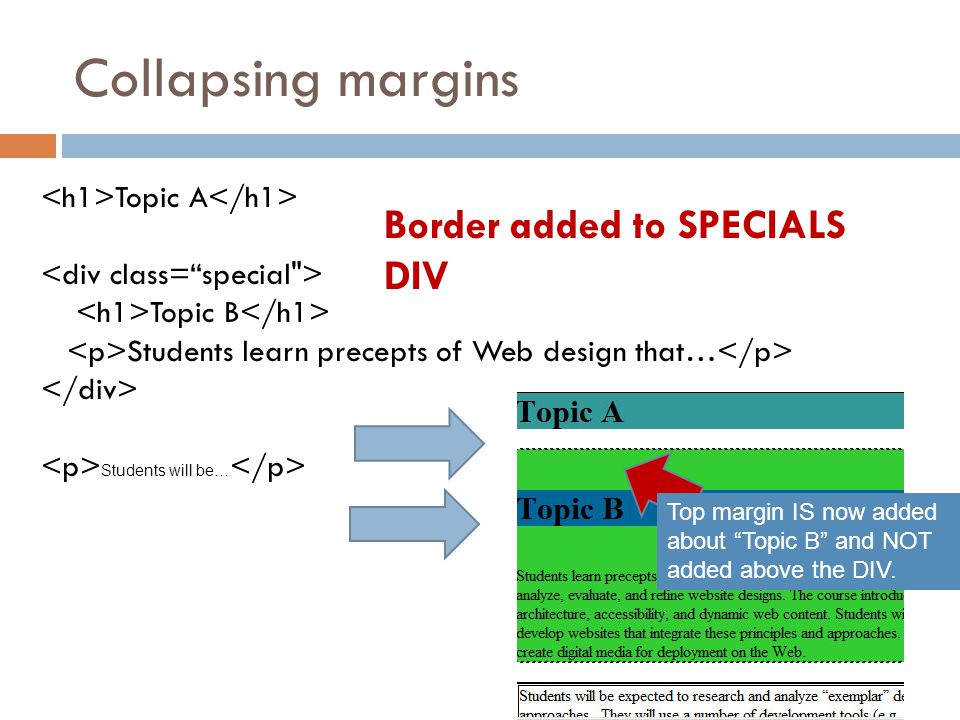 Collapsing margins Topic A Topic B Students learn precepts of Web design that… Students will be… Border added to SPECIALS DIV Top margin IS now added