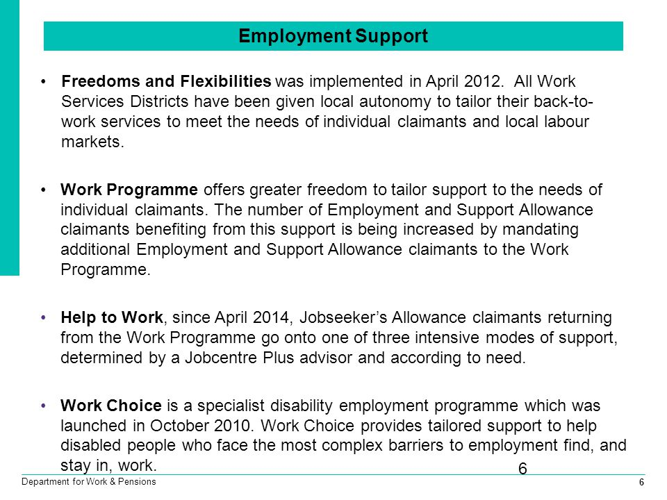 6 Department for Work & Pensions 6 Employment Support Freedoms and Flexibilities was implemented in April 2012.