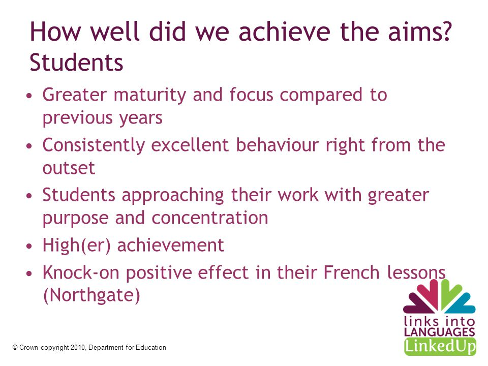 © Crown copyright 2010, Department for Education How well did we achieve the aims.