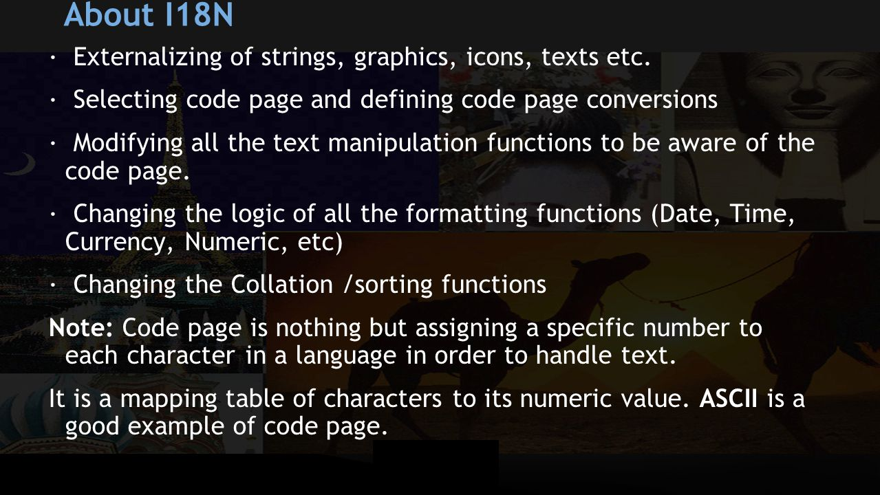 About I18N · Externalizing of strings, graphics, icons, texts etc.