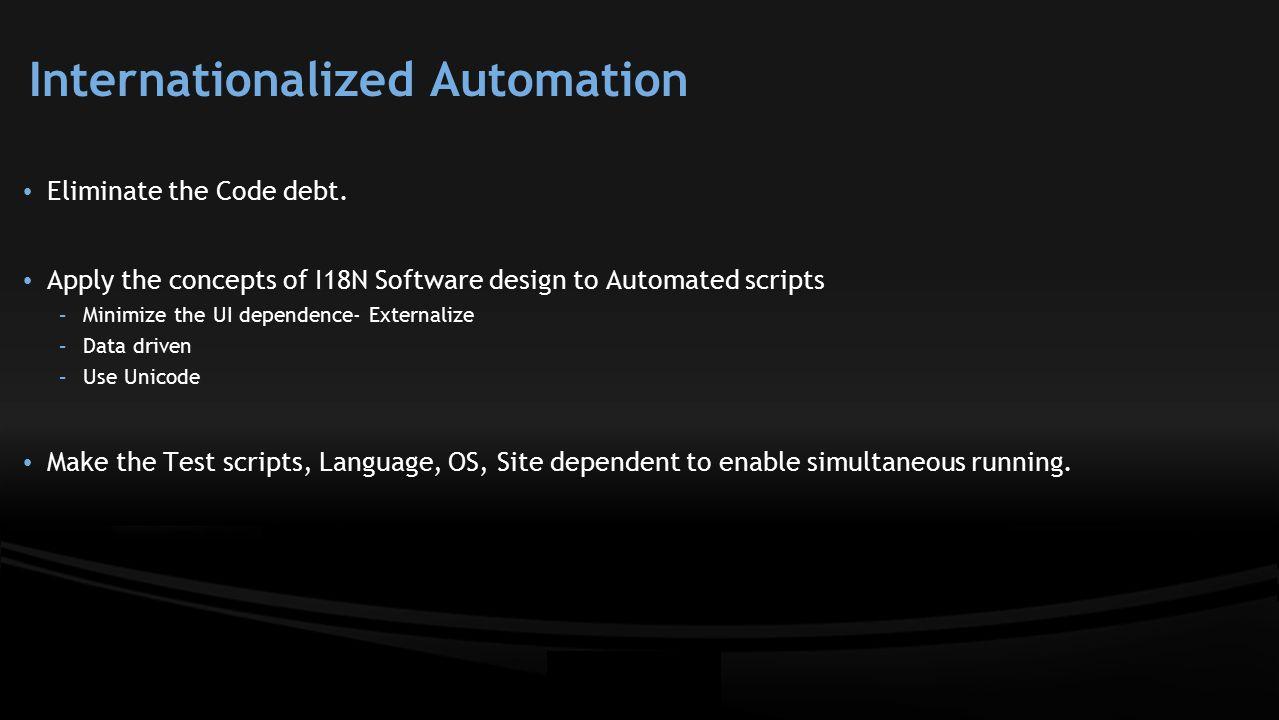 Internationalized Automation Eliminate the Code debt.