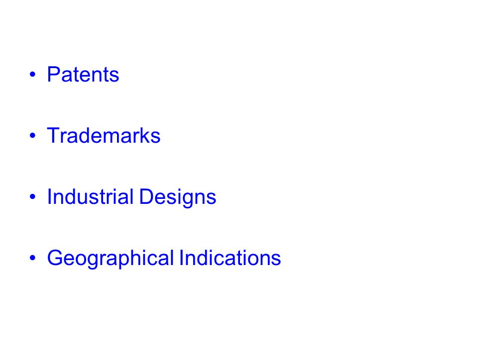 Patents No patent without invention An invention is a technical solution to a technical problem Not all inventions are eligible for patent Some inventions are excluded from the patentability from the outset (scientific theories/mental acts, discovery, etc.) Territorial protection