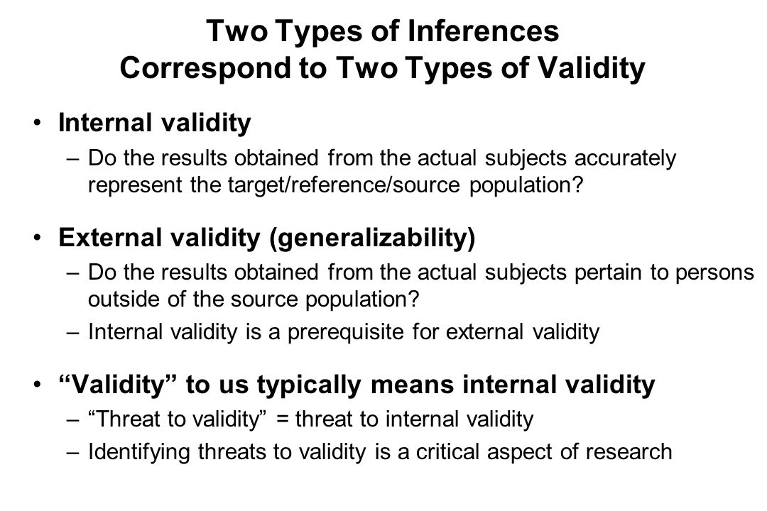 Internal validity –Do the results obtained from the actual subjects accurately represent the target/reference/source population.