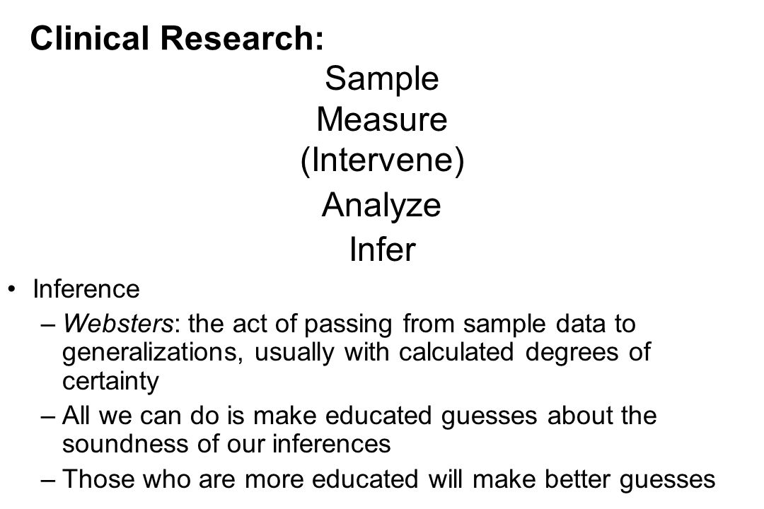 Clinical Research: Sample Measure (Intervene) Analyze Infer Inference –Websters: the act of passing from sample data to generalizations, usually with calculated degrees of certainty –All we can do is make educated guesses about the soundness of our inferences –Those who are more educated will make better guesses