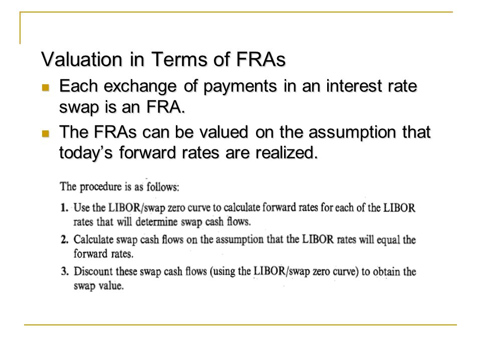 Valuation in Terms of FRAs Each exchange of payments in an interest rate swap is an FRA.