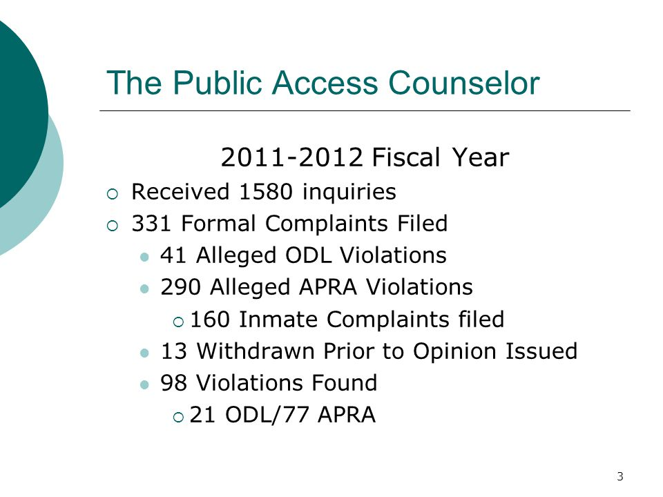 3 The Public Access Counselor 2011-2012 Fiscal Year  Received 1580 inquiries  331 Formal Complaints Filed 41 Alleged ODL Violations 290 Alleged APRA Violations  160 Inmate Complaints filed 13 Withdrawn Prior to Opinion Issued 98 Violations Found  21 ODL/77 APRA
