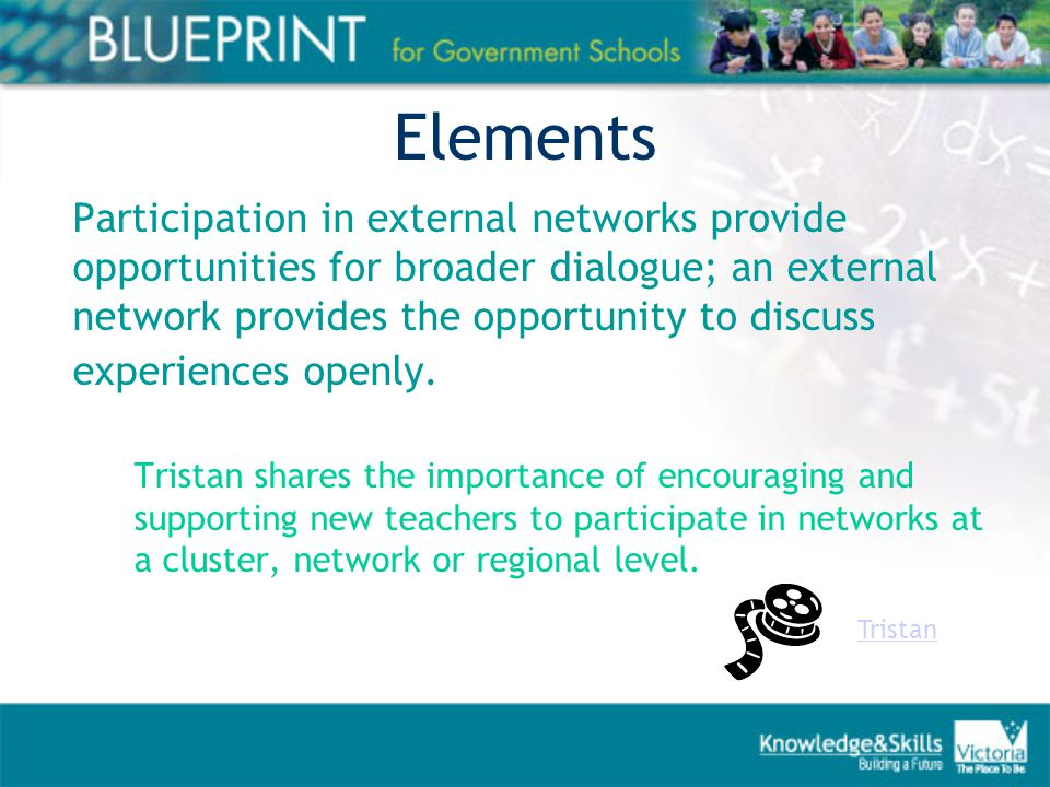Elements Participation in external networks provide opportunities for broader dialogue; an external network provides the opportunity to discuss experiences openly.