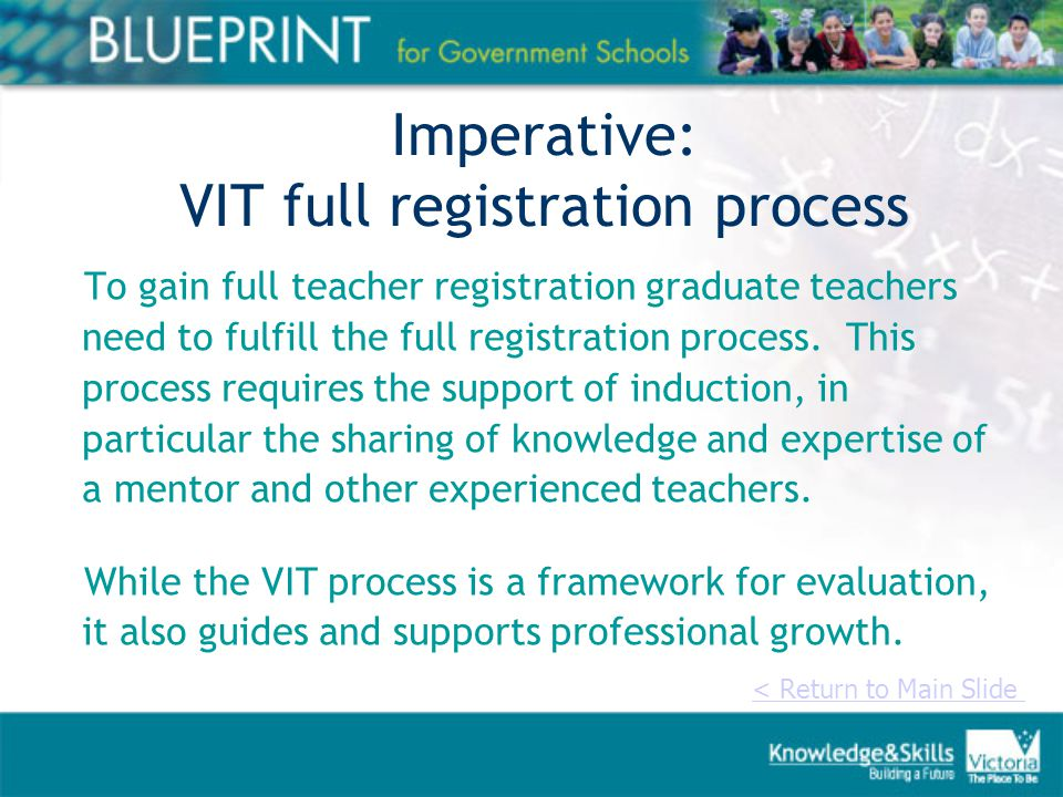 Imperative: VIT full registration process To gain full teacher registration graduate teachers need to fulfill the full registration process.