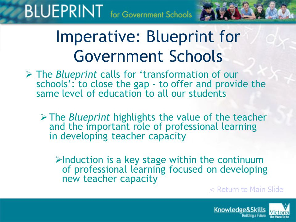 Imperative: Blueprint for Government Schools  The Blueprint calls for 'transformation of our schools': to close the gap - to offer and provide the same level of education to all our students  The Blueprint highlights the value of the teacher and the important role of professional learning in developing teacher capacity  Induction is a key stage within the continuum of professional learning focused on developing new teacher capacity < Return to Main Slide