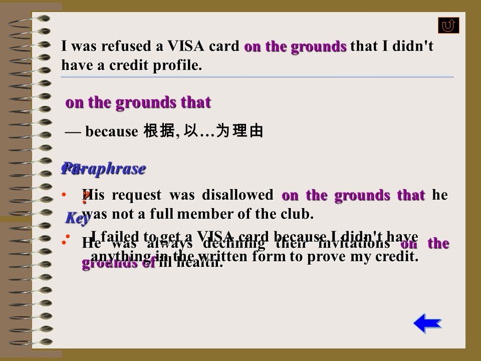 credit profile — a short description of a person's reputation in money matters More to learn More to learn I was refused a VISA card on the grounds th