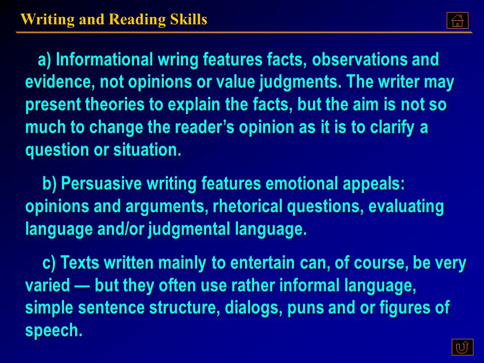 Writing and Reading Skills 1)The main writing skill in this text is LISTING. There are many different way of using listing. The author prefers an A-to