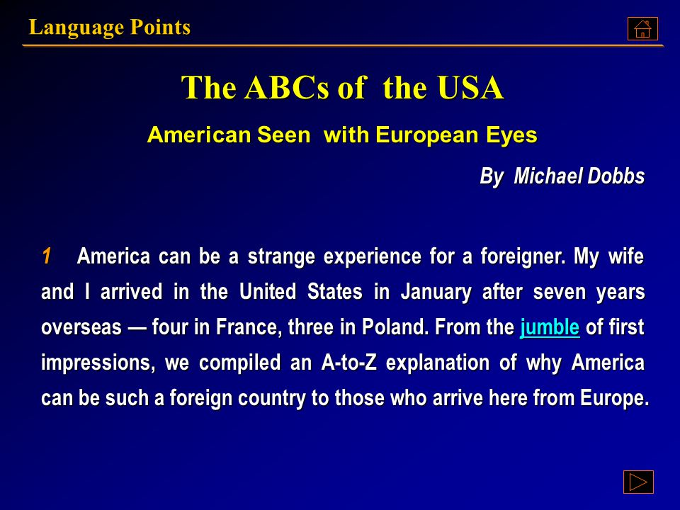 The ABCs of the USA American Seen with European Eyes By Michael Dobbs By Michael Dobbs The ABCs of the USA American Seen with European Eyes By Michael