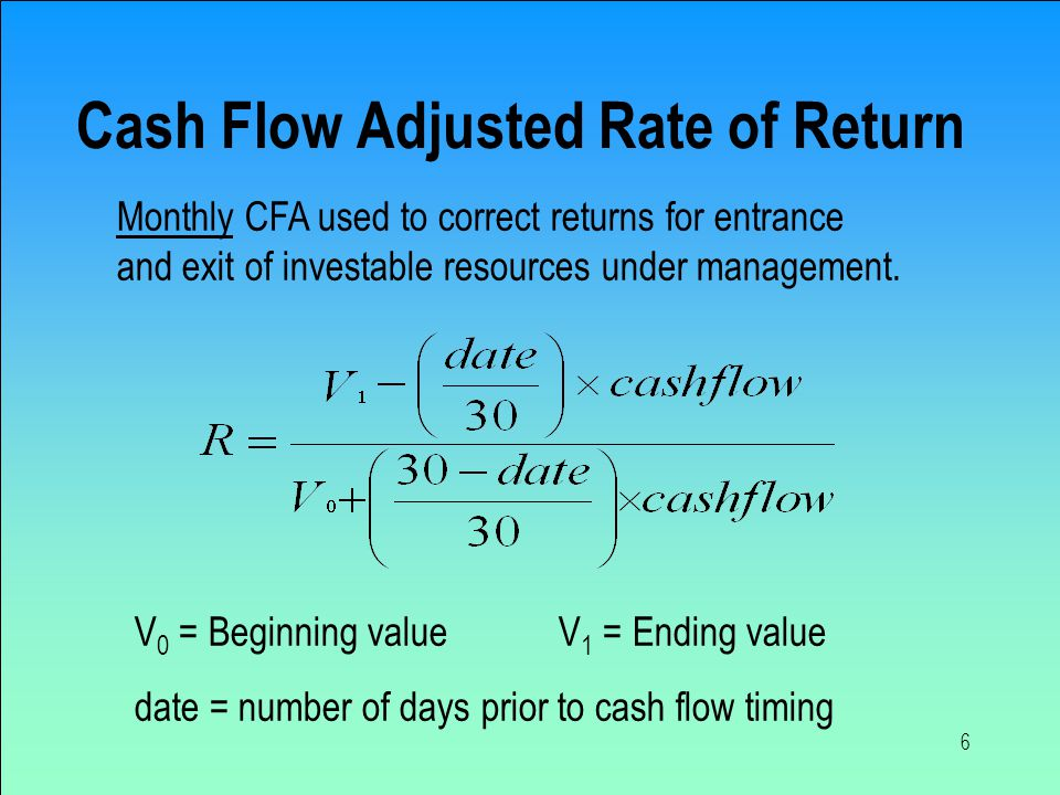 6 Cash Flow Adjusted Rate of Return V 0 = Beginning value V 1 = Ending value date = number of days prior to cash flow timing Monthly CFA used to correct returns for entrance and exit of investable resources under management.