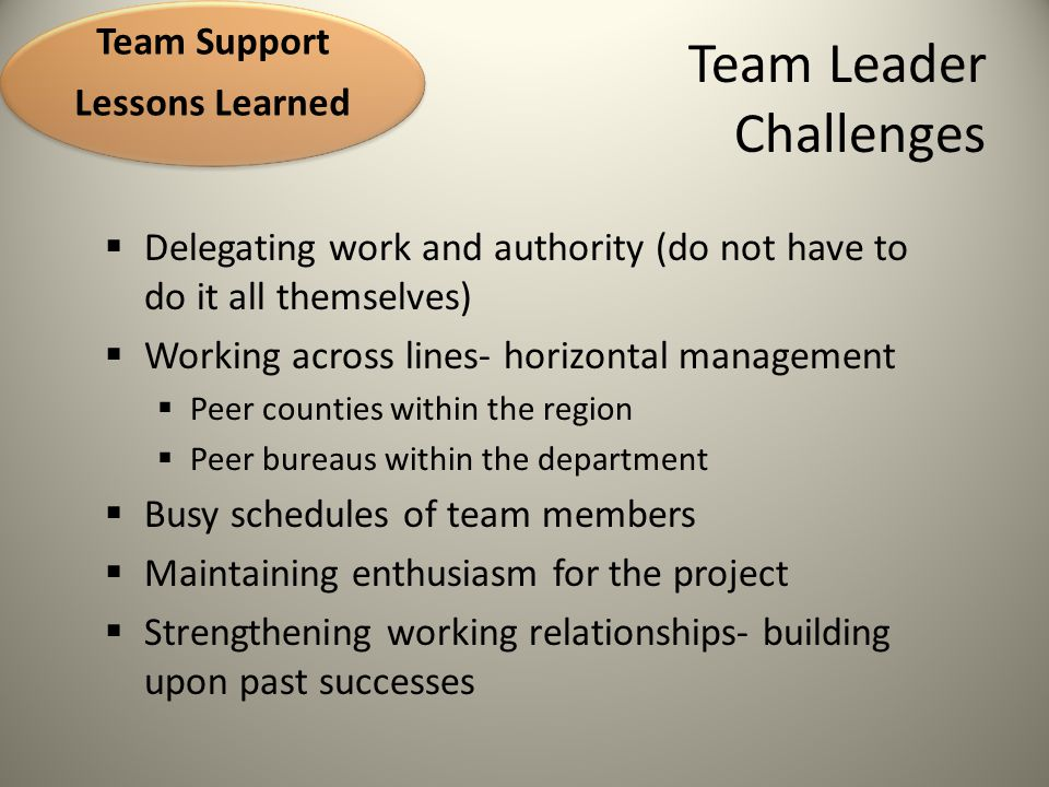 Team Challenges Logistics 2010  place where team members can post messages and documents  ease of use and training important  list serve process often inadequate due to over loaded inboxes of team members Team Support Lessons Learned