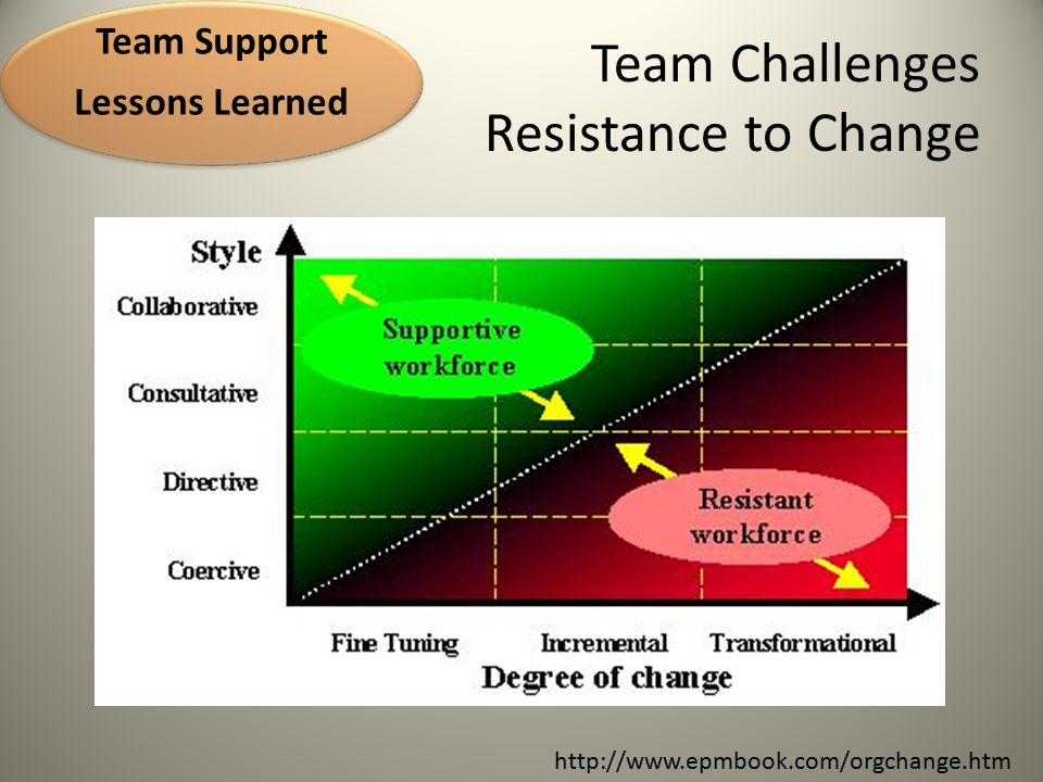 Team Challenges Resistance to Change 2009 Team guidance did not address this issue at the outset Focus teams on change within their own work flows 2010 Team Support Lessons Learned